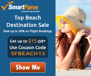 Beach Destinations Sale at never before fares. Get Up To $15 Off* using Coupon Code SFBEACH15.