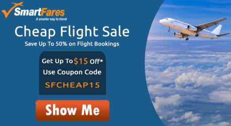 Cheap Flights Airfare Deals! Get Up To $15 Off with Coupon Code