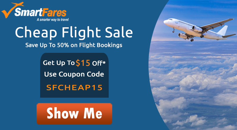 Cheap Flights Airfare Deals! Get Up To $15 Off* with Coupon Code