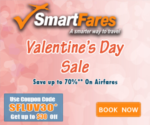 Valentine Day Flight Deals. Book now and get up to $30 off with coupon code: SFLUV30
