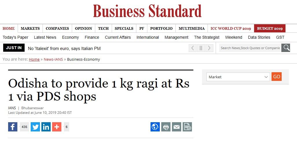 Odisha to provide 1 kg ragi at Rs 1 via PDS shops