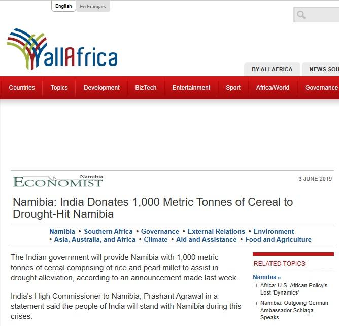 Namibia: India Donates 1,000 Metric Tonnes of Cereal to Drought-Hit Namibia