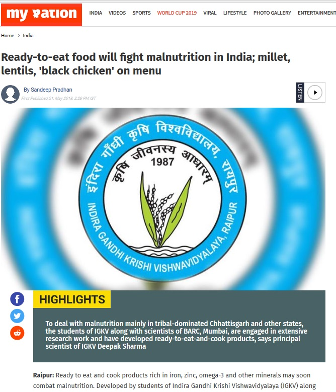 Ready-to-eat food will fight malnutrition in India; millet, lentils, 'black chicken' on menu