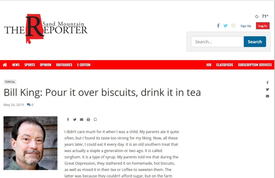 Bill King: Pour it over biscuits, drink it in tea