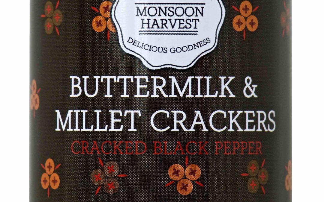 Butter Milk  & Millet Crackers, Pepper by Moonsoon Harvest