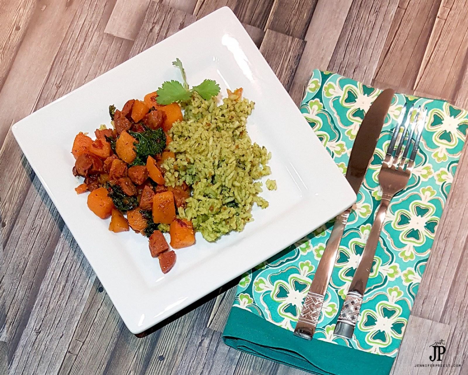 PALEO-Chorizo-Hash-with-Butternut-Squash-Kale-with-Cilantro-Pesto-Rice-JPriest