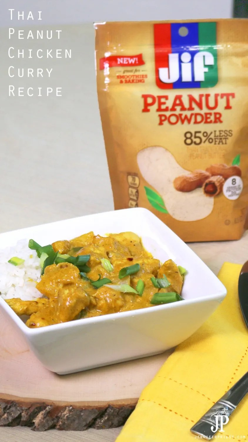 Make this Thai Peanut Chicken Curry for dinner tonight with Jif Peanut Powder! This recipe will make you forget about takeout.