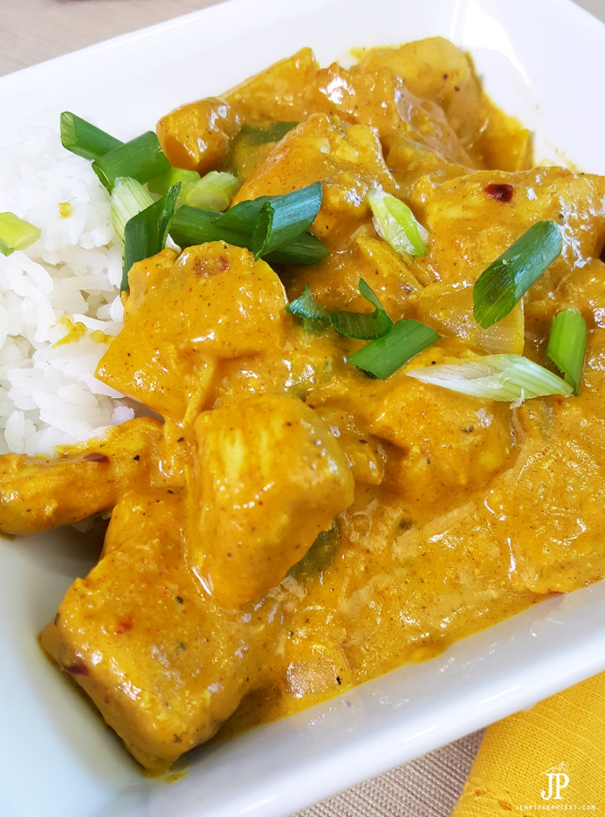 The best homemade chicken curry recipe - lower fat with Jif Peanut Powder versus peanut butter.