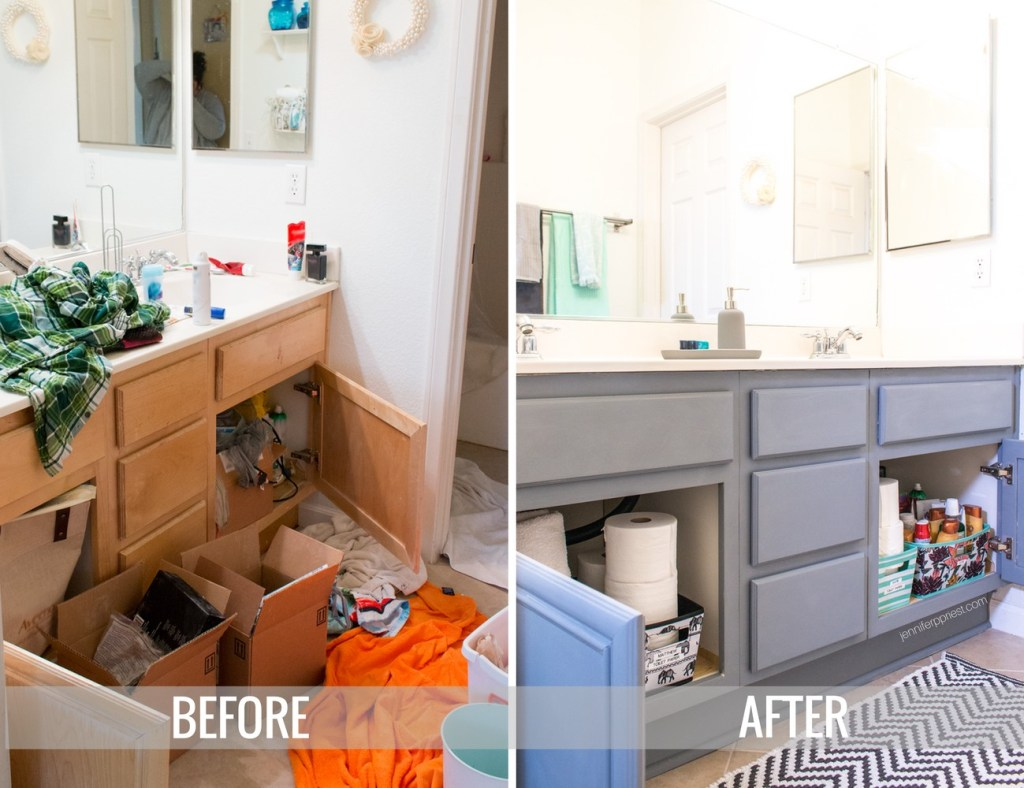 BEFORE and AFTER bathroom refresh. Organize kids shared bathroom - what about when they get older? Here's how a teen and tween share a bathroom and get ready for back to school - all supplies from Target. make sure to stock Quilted Northern Ultra Soft & Strong® (Mega Rolls) so they have to refill the roll less frequently. #DesignedMega [AD]