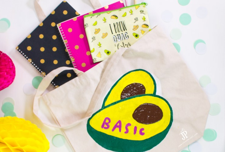 How to Faux Screenprint – Snapchat Sticker Basic Avocado DIY Bag