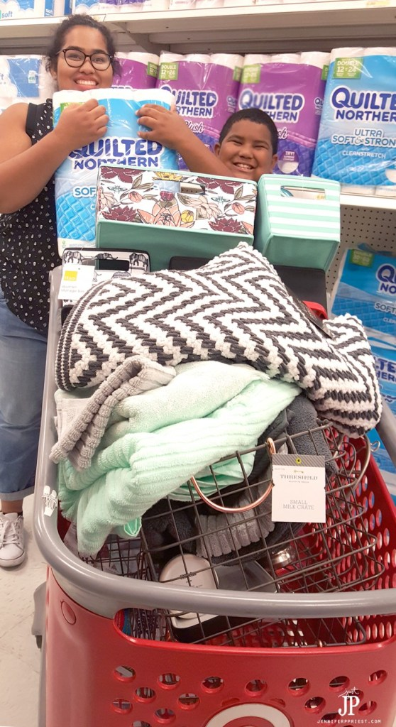 Organize kids shared bathroom - what about when they get older? Here's how a teen and tween share a bathroom and get ready for back to school - all supplies from Target. make sure to stock Quilted Northern Ultra Soft & Strong® (Mega Rolls) so they have to refill the roll less frequently. #DesignedMega [AD]