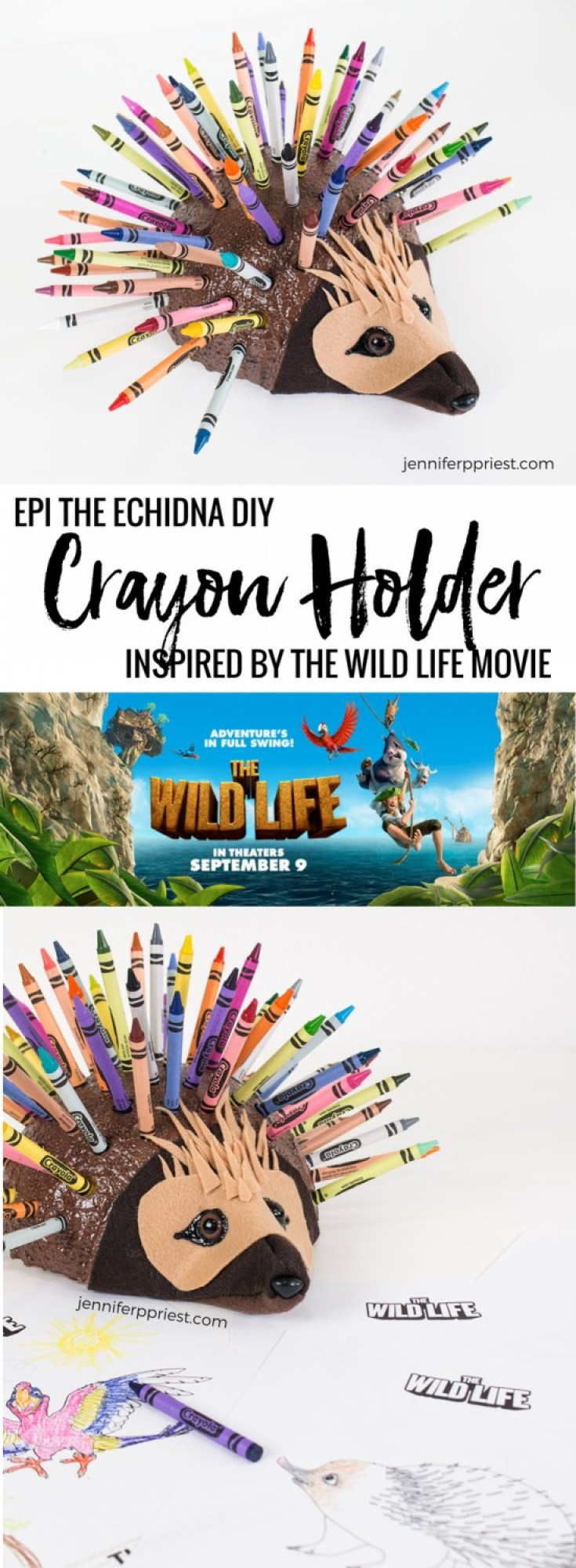 Color on the wild side with this DIY crayon holder inspired by The Wild Life in theaters Sept 9. Are your kids super excited to see this movie? My son is!! We love the variety of characters in the movie, like Epi the echidna. We created this DIY crayon holder kids craft for coloring books, inspired by her character in the film. Get the how-to for this project and learn more about The Wild Life movie here: http://justjp.co/TheWildLifeMovie #TheWildLife [AD]