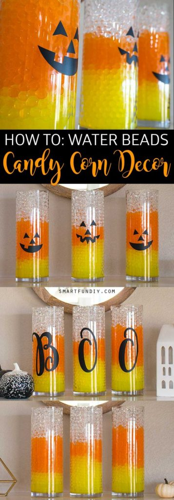 Candy Corn Vases! Halloween Decor is easy with GEMNIQUE Water Beads. See how to make this display for under $15!