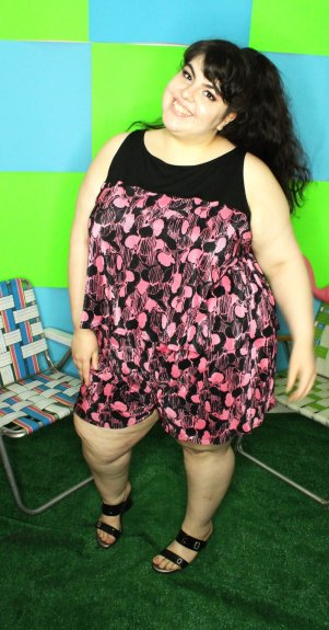 Woman in bold print high waist shorts from SmartGlamour