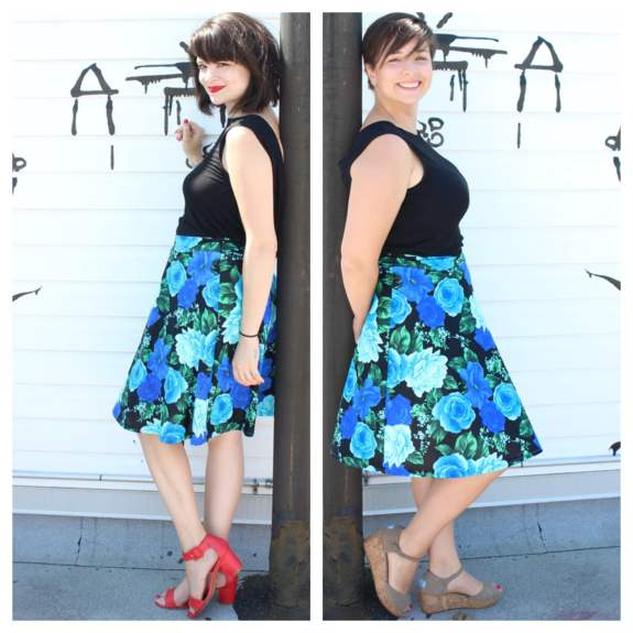 SmartGlamour Designer, Mallorie, and Daniela - size large - wearing the Syvlia Cowl Tee and the exact same Charlotte Circle Skirt.