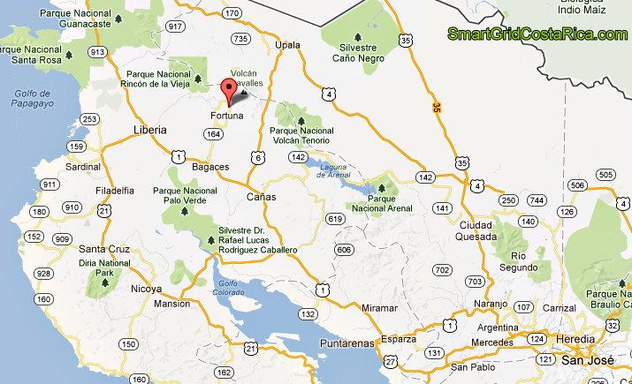 Ruta Mapa Cómo Llegar al Parque Proyecto Solar Miravalles Bagaces Guanacaste