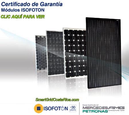 Garantía paneles solares fotovoltaicos ISOFOTON en Costa Rica