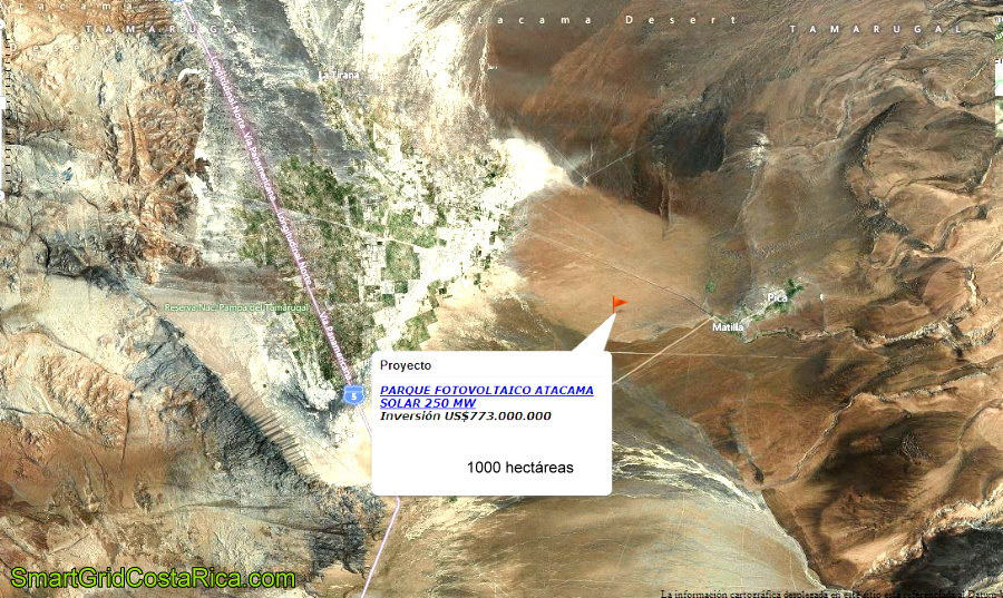 Desierto Atacama Chile Ubicación Planta Parque Solar Paneles Fotovoltaicos Smart Grid mapa
