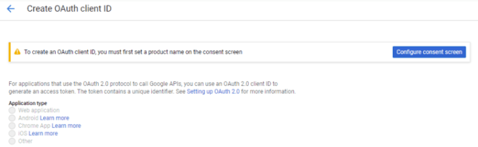 Configure Consent Screen for Google OAuth2