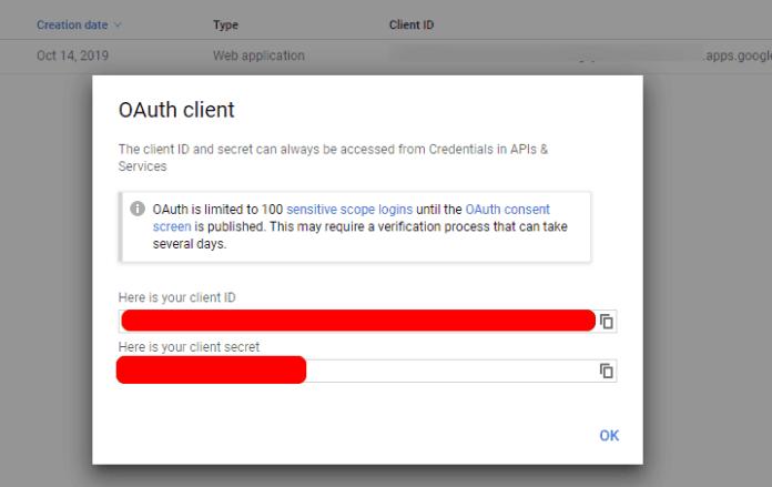 Google OAuth Client Credentials