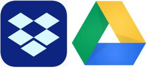 Ikon Dropbox og Google Disk