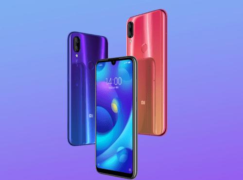 Tre stykk Xiaomi Mi Play i blå, sort og rød.