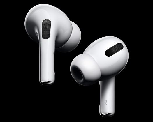 Apple Airpods Pro, høyre og venstre øreplugg i hvitt.