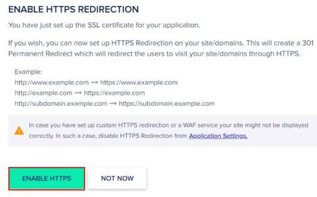 Enable Https redirection