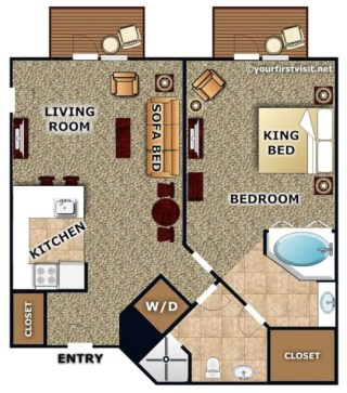 Example Floor Plan of a One Bedroom