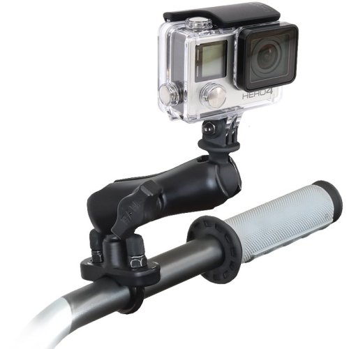 "RAM Handlebar Rail Mount, Zinc Coated U-Bolt & 1"" Diameter Ball with Custom GoPro® Hero Adapter"