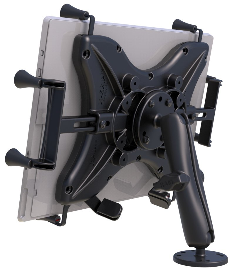 """RAM Flat Surface Mount with LONG Double Socket Arm & Universal X-Grip® for 12"""" Tablets"""