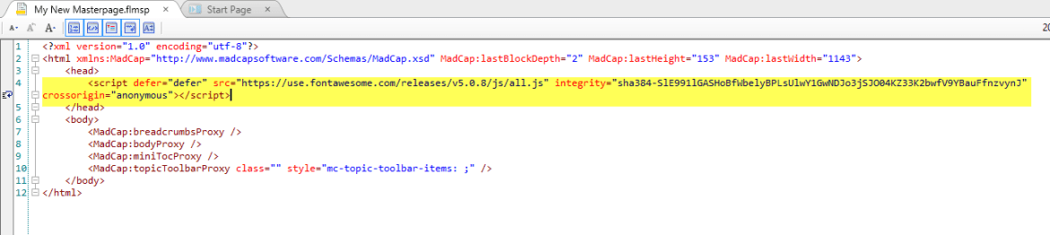 Screenshot showing FontAwesome embed code in a MadCap Flare MasterPage