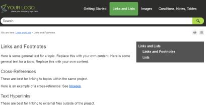 Screenshot showing persistent highlighting in MadCap Flare TopNav menu item.