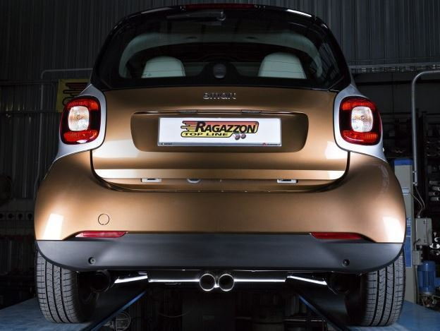 ragazzon sport exhaust double pipe centrally smart fortwo 453