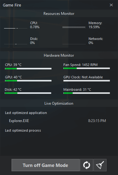 Game Fire 6 - Performance Monitor