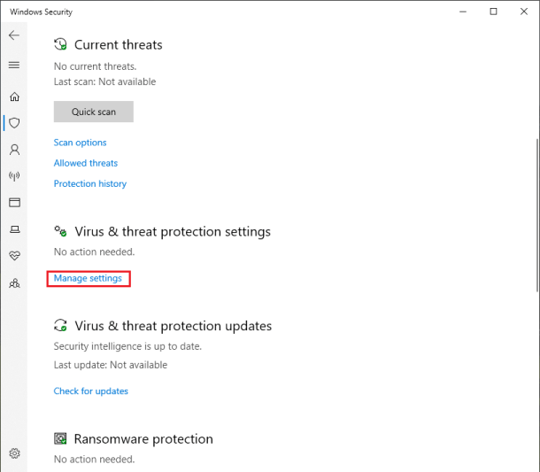 Windows Defender virus and protection settings