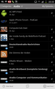 BeyondPod am Samsung Galaxy Note