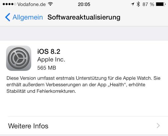 iOS 8.2 auf dem iPhone 6 Plus installiert