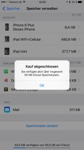 50-GB-Option bei iCloud gebucht