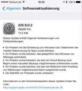 iOS 9.0.2 installiert