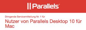 Servicemitteilung von Parallels