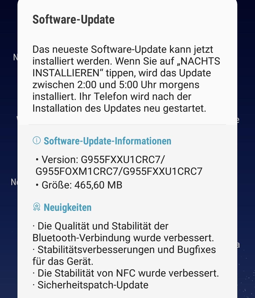 März-Update für das Samsung Galaxy S8+ Duos