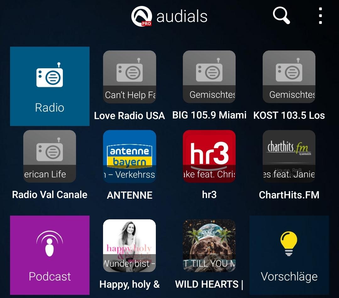 Audials Radio Pro auf dem Samsung Galaxy S8+ Duos