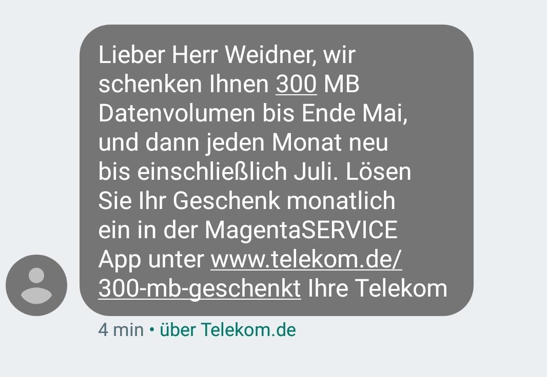 Datengeschenk von der Telekom