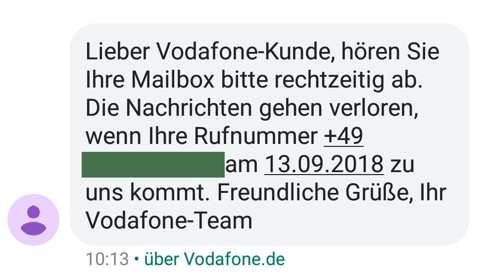 Vodafone-Hinweis per SMS (Foto: SmartPhoneFan.de)