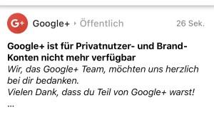 Google+ ist Geschichte (Foto: SmartPhoneFan.de)