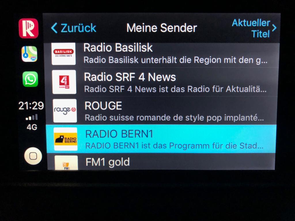 Swiss Radioplayer auf Apple CarPlay (Foto: Swiss Radioplayer)