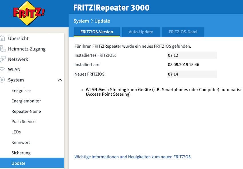FRITZ!OS 7.14 installiert (Foto: SmartPhoneFan.de)