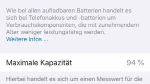iPhone-Akku bei 94 Prozent (Foto: SmartPhoneFan.de)