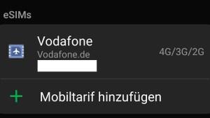 eSIM von Vodafone im Samsung Galaxy S20 Ultra (Foto: SmartPhoneFan.de)